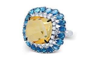 Adawna Silver & Swarovski Citrine and Blue Topaz Cocktail Ring
