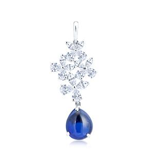 Adawna Silver & Swarovski Blue Cabochon Tear Drop Pendant