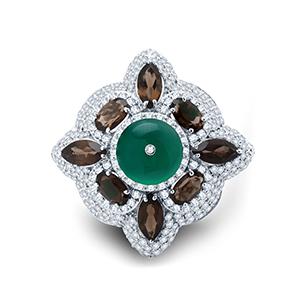 Adawna Silver & Swarovski Smoky and Green Signature Cocktail Ring