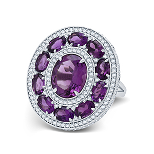 Adawna Silver & Swarovski Signature Cocktail Ring with Purple Centre and Surround