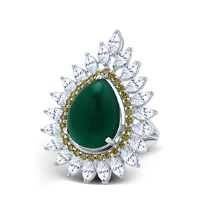 Adawna Silver & Swarovski Green Cabochon and Marquise Cocktail Ring with Yellow Surround
