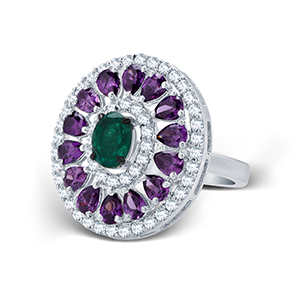 Adawna Silver & Swarovski Signature Green Oval cocktal Ring with Purple Surround