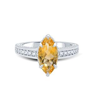 Adawna Silver & Swarovski Delicate Yellow Marquise Centre Stone Ring