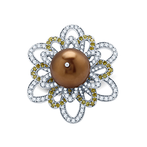 Adawna Silver & Swarovski Signature Chocolate Pearl Cocktail Ring