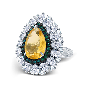 Adawna Silver & Swarovski Signature Yellow Centre Cocktail Ring with Green Surround