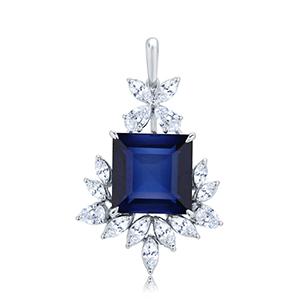 Adawna Silver & Swarovski Multi Shape Cluster Pendant with Blue Centre Stone