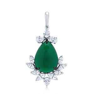 Adawna Silver & Swarovski Green Tear Drop Pendant