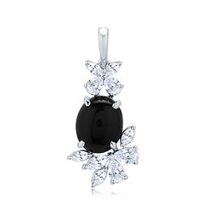 Adawna Silver & Swarovski Black Oval Cabachon Pendant