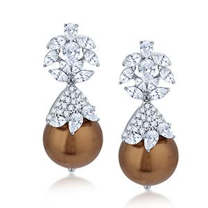 Adawna Silver & Swarovski Chocolate Pearl Danglings