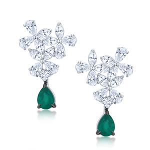 Adawna Silver & Swarovski MultiShape Cluster Earrings with Green Tear Drop