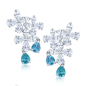 Adawna Silver & Swarovski MultiShape Cluster Earrings with Aqua Tear Drop Dangling