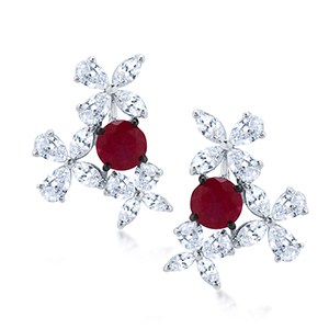 Adawna Silver & Swarovski Cluster Earring with Red Centre Stone