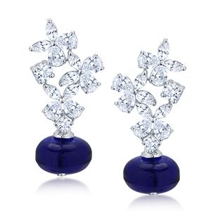 Adawna Silver & Swarovski MultiShape Earrings with Blue Stone Dangling
