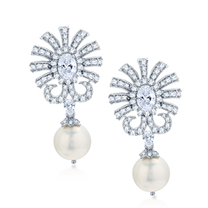 Adawna Silver & Swarovski Oval Centre Earring with Pearl Drop