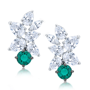 Adawna Silver & Swarovski Pear Cluster Earring with Green Stone