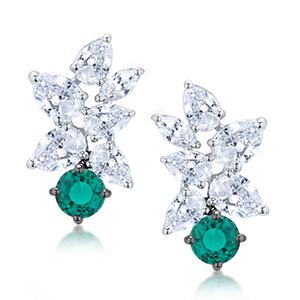 Adawna Silver & Swarovski Pear Cluster Earring with Green Stone
