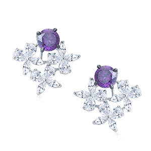 Adawna Silver & Swarovski Multi Shape Tops with Purple Centre Stone