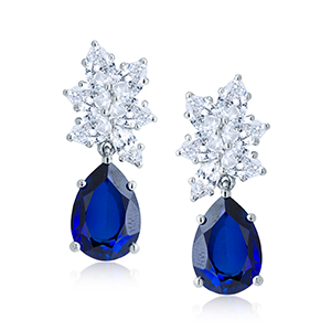 Adawna Silver & Swarovski Blue Tear Drop Earrings
