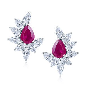 Adawna Silver & Swarovski Pear Cluster Earring with Red Centre Stone