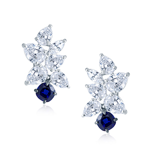 Adawna Silver & Swarovski Cluster Earring with Blue Stone Dangling