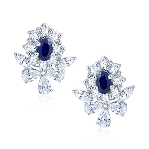 Adawna Silver & Swarovski Blue Oval Cluster Earrings