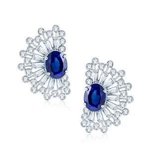 Adawna Silver & Swarovski Blue Oval Cluster Earrings