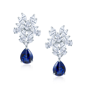 Adawna Silver & Swarovski Blue Cabochon Drop Earring